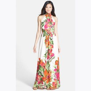 ELIZA J. Floral Print Chiffon Halter Maxi Dress 12